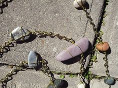 Tumbled stone and wire Rain Chain by BitsOfShiny on Etsy