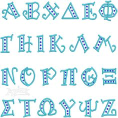 """Greek Embroidery Fonts Curlz. Very rare fonts with polka dots & curly open faced lettering. Comes in three sizes and can be re-size for a $20 digitizing fee.View our Animal Designs for cute retro sorority mascots to add with lettering font. Size 1"""", 2"""" & 3"""" Inch"""