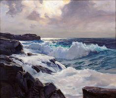 """Frederick Judd Waugh (American, 1861-1940), """"Silver Light"""", oil on canvas - 24 7/8 X 29 3/4 inches"""