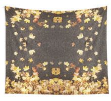 Gold yellow maple leaves autumn asphalt road Wall Tapestry by #PLdesign #autumn #fall #leaves