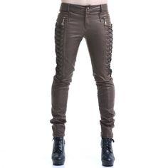 Pantalon Steampunk Marron Simili Cuir | Crazyinlove France