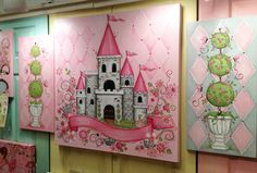 Beautiful castle wall art fit for a Pink Princess...love, love, love!