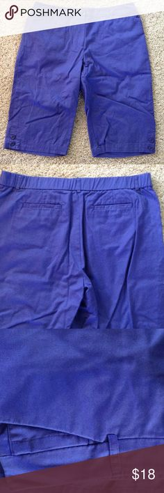 Knee length shorts In excellent condition. Back elastic inside the waistband for a good fit. Waist is 36 inches, inseam is 14 inches. 97%cotton, 3% spandex. Briggs New York Shorts Bermudas