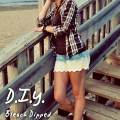 A 2 for 1 DIY tutorial! Learn how to create scalloped shorts from an old pair of jeans then learn how to dip dye them in bleach.