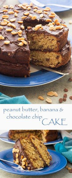 Peanut butter, banana and chocolate chip cake
