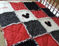 """Personalized Appliqued Mickey Mouse Red N Black Baby Rag Quilt Boy 34"""" x 50 Lg. Crib or Toddler Bed Lg Throw"""