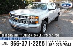 2015 Chevrolet Silverado 1500 LT - V6 4.3L Engine - Remote Keyless Entry - Alloy Wheels - Tinted Windows - Tow Hooks - Spray In Bed Liner - Safety Airbags - Powered Windows/Locks/Mirrors - Seats 6 - AM/FM/CD/XM - Bluetooth - iPod/Aux/USB Ports - Digital Compass - OnStar - Cruise Control - EZ Lift Tailgate and more!