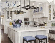 There is nothing I love more than a classic white kitchen . except for a classic white kitchen with blue and white accessories! We recentl. Blue White Kitchens, White Marble Kitchen, Classic White Kitchen, Kitchen Styling, Kitchen Decor, Kitchen Ideas, Design Kitchen, Kitchen Mantle, Kitchen Bars