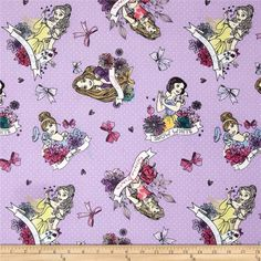ONE YARD of 100% cotton fabric Purple with white pin dots with the Disney princesses  43 wide 100% Cotton Machine Wash Cold, Tumble Dry Not for use