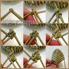 Discover thousands of images about Azsúr levél készítés :) - Rika Papírkosarak Flax Weaving, Straw Weaving, Willow Weaving, Weaving Art, Newspaper Basket, Newspaper Crafts, Rock Crafts, Diy And Crafts, Paper Basket Weaving