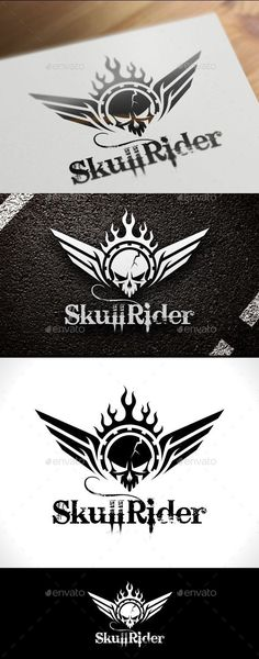 Skull Rider Logo Template: Humans Logo Design Template by VectorCrow. Petit Tattoo, Team Logo, Skull Logo, Wings Logo, Cool Business Cards, Skull And Bones, Sports Logo, Cool Logo, Logo Design Inspiration