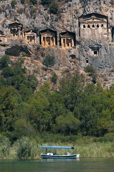 Ancient Lycian rock-cut tomb at ancient Caunos, near Dalyan, Turkey