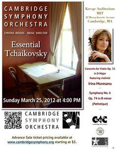 Cambridge Symphony Orchestra - Essential Tchaikovsky - Sunday, March 25, 2012