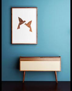 Kupfer feiert sein großes Comeback - auch bei XOXO Arte. Origami Vögel in Kupfer Optik als Digitaldruck erhältlich
