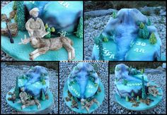 Themed Cake Hunting Moose. Callebaut Premium White Icing Paste - TruColor Natural Airbrush Colors - Saracino Modelling Paste .