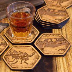 Dinosaur Fossil Wooden Coasters