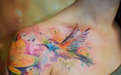 water-colorful tattoo. Yessssss!!!! Love it! Perfect placement!