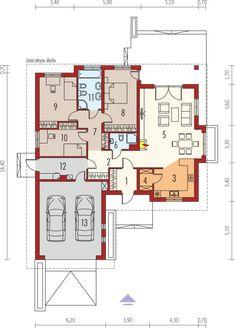 Eris II (wersja C) - projekt domu - Archipelag Bungalow Haus Design, Modern Bungalow House, Bungalow House Plans, The Plan, How To Plan, House Plans One Story, Small House Plans, Contemporary House Plans, Modern House Design