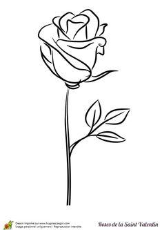 Une tige de rose stylisée à colorier pour la Saint Valentin