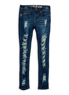 Girls 7-16 VIP Ripped Dark Blue Skinny Jeans - 3629065300050