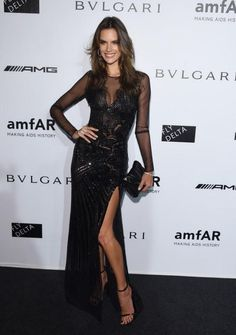 @AngelAlessandra in Milan at the amfAR gala in a fully beaded Versace gown #VersaceCelebrities