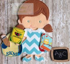 Celebrate her 1st day of school with a doll!  Listing includes: 1 jumper outfit, 1 pair of shoes, 1 graduation cap, 1 book bag, 1 pencil, 1