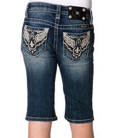 Tween Miss Me Dark Blue Western-Embellished Denim Bermuda Shorts