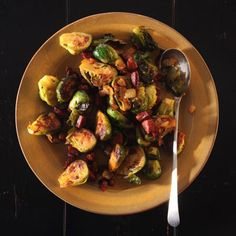Brussels Sprouts with Chorizo // I love the flavor combination, but I'd rather just roast the sprouts, then toss them with rendered chorizo.