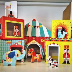 Love this retro-circus themed stacking blocks designed in France