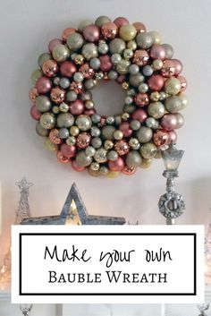 Make your own metallic bauble wreath to create a stylish Christmas decoration