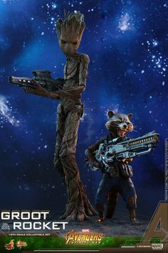 Avengers: Infinity War 1/6th scale Groot & Rocket Collectible Set From Hot Toys #Marvel