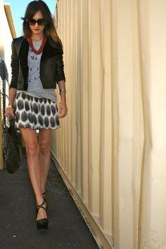 Short skirt, a t-shirt and jacket. Love it