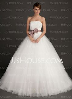 Wedding Dresses - $186.99 - A-Line/Princess Strapless Sweep Train Satin Tulle Wedding Dresses With Lace Sashes (002015495) http://jjshouse.com/A-line-Princess-Strapless-Sweep-Train-Satin-Tulle-Wedding-Dresses-With-Lace-Sashes-002015495-g15495