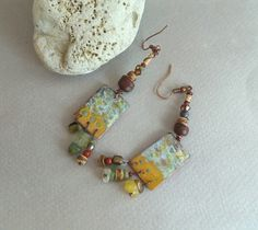 Boho rustic Boucles d'oreilles cuivre émaillé perles : Boucles d'oreille par emilia-m