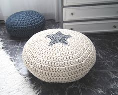 Off White Crochet Pouf -Off White Crochet Floor Cushions - Ottoman Pouf Footstool - Kids Floor Cushion - Spring Collection