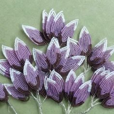 Vintage French Beaded Leaves Lavender/Aubergine/Grey (these are just like the ones I got at the Pezenas brocante sale -- they are for cemetery decorations).