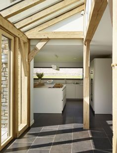 Stealing just a little bit of light from above can make a huge difference to the feel of the room. Oak framed home by Roderick James Architects. Photo credit of Sapphire Spaces (http://www.sapphirespaces.co.uk)