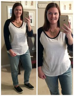 Budget Mom Style Weekly #4: Comfy casual with baseball tee & quilted slip on sneakers