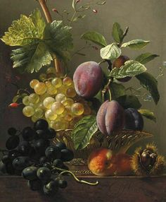 Georgius Jacobus Johannes van Os  'Grapes, Prunes, Peaches and a Chestnut'... 19th century