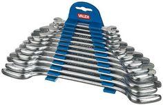 Chiavi a forchetta doppia serie 12 pezzi Valex I veri uomini hanno bisogno di chiavi! #chiveinglese #valex Solo su https://agrihobby.com/ Misure: 6x7, 8x9, 10x11, 12x13, 14x15, 16x17, 18x19, 20x22, 21x23, 24x27, 25x28, 30x32mm - Forchette inclinate di 15gradi - Corpo in acciaio - Finitura satinata - Fornita con supporto in plastica.
