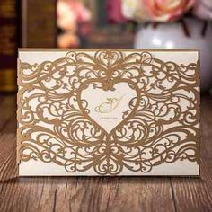 Joinwin Pack of 12 Floral Laser Cut Invitations Cards For Gold Wedding Invitations Printable Paper Blank Convite do casamento Homemade Wedding Invitations, Heart Wedding Invitations, Wedding Invitation Design, Bridal Shower Invitations, Wedding Favors, Party Invitations, Laser Cut Invitation, Invite, Pocket Invitation