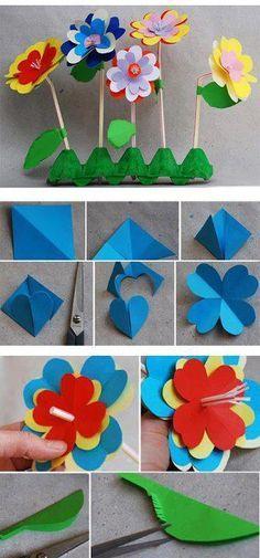 flores de papel para niños - Buscar con Google