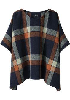 apc / tartan wool poncho
