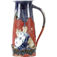 Large Japanese Sumida Gawa Pottery Pitcher, With Man And Tiger from Barkus Farm Antiques, Collectibles and Fine Art on Ruby Lane