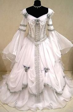 Silver Medieval Wedding Dress Victorian Goth Costume S-m-l 16 Renaissance X-mas  (Lynci thinks this gown would be  perfect for a costume party!)
