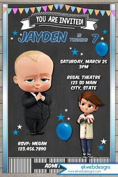 7 Best Ticket Invitation Images Baby Movie Baby Party Boss Baby