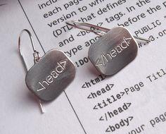 So nerdy! Html Earrings head Geek Jewelry Nerd Jewelry by nicholasandfelice, $20.00