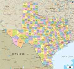 Map of State of Texas, with outline of the state cities, towns and counties.