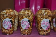Popcorn treats at a Baby Girl Shower #babyshower #pink
