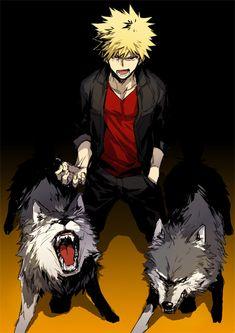 Katsuki with wolf